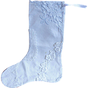 SALE 19th Century Victorian Embroidery and Lace Christmas Stocking