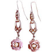 Vintage PInk Enamel and Seed Pearl Rose Drop Earrings