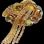 Juliana Rhinestone Fall Colors Brooch Pin With Chain Dangles