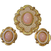 SALE Brooch and Earrings Set Pink Cabochons Faux Seed Pearls