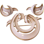 SALE Crown Trifari White Enamel Pin and Clip Earrings