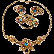 SALE Coro Three Piece Necklace Set Multi Color Rhinestones