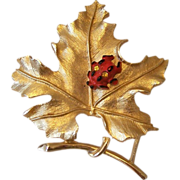 """Bit O Fantasy"" 1970's Sarah Coventry Leaf And Lady Bug Brooch"