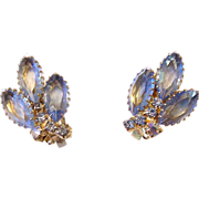 SALE Blue Marquis Rhinestone Clip Earrings