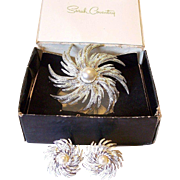 """SALE """"Pin Wheel"""" 1970's Sarah Coventry  Brooch and Earrings Set"""