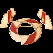 SALE Trifari Red and Cream Enamel Brooch Earrings Set