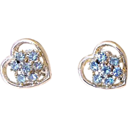 SALE Blue Rhinestone Heart Screw Back Earrings