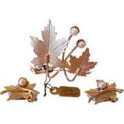 """SALE """"Precious"""" 1960's Sarah Coventry Leaf and Pearls Brooch Pin and Earrings Set"""