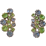 SALE Blue And Green Rhinestone Clip Earrings