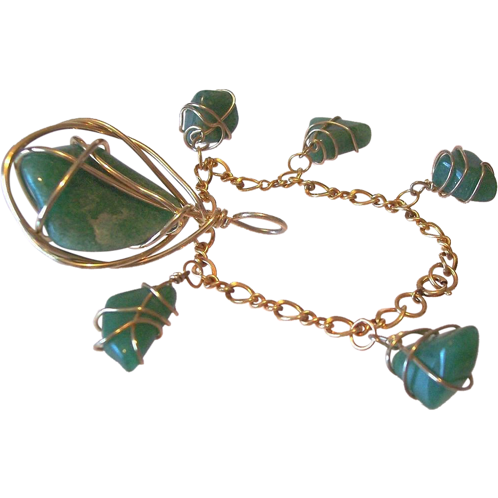Caged Green Jadeite Necklace Pendant and Bracelet