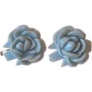 Vintage Celluloid Carved Rose Screw Back Earrings