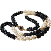 SALE 24.5 Inch MOP and Black Beads Weave Necklace