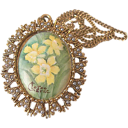REDUCED Hand Painted Signed Baroque Cameo Pendant Necklace