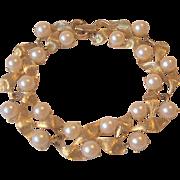 Golden Leaves Faux Pearls Garland Link Bracelet