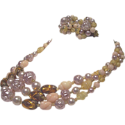 Vintage Japan Necklace Earrings Set Pink, Yellow, Amber Colors