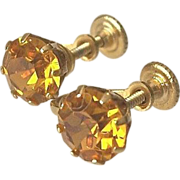 SALE Topaz Glass Screw On Earrings