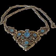SALE 1950's Signed Coro Rhinestone Necklace Book Piece