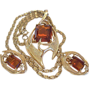 """Sarah Coventry """"Molten Topaz"""" 1960's Necklace and Clip Earrings Set"""