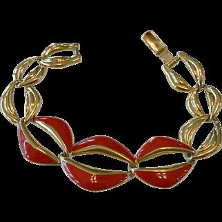 Trifari Red Enameled Link Bracelet