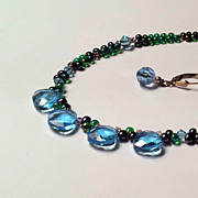 Necklace and Earring set - Blue and Iris Beads