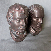 SOLD Pair Antique Architectural Elements, Mens Faces, Writers Composers etc