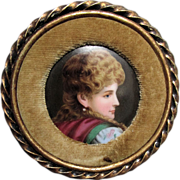 Miniature Victorian Porcelain Plaque of Lovely Lady