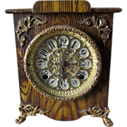 SOLD 19thC Victorian Grain Painted Iron Clock, Etched Brass Face