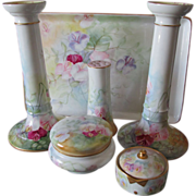 6 Piece T & V French Limoges Vanity Set, Hand Painted