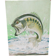 Vintage Oil Painting of Bass Fish, Illustration Art