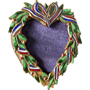 Lovely Miniature Heart Shaped Enamel Picture Frame