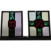 Pair Antique Arts & Crafts Stained Glass, Enamel Windows