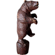 Black Forest Hand Carved Dancing Bear Bottle Stopper