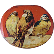 Antique French Paper Mache Snuff, Candy Box with Bird Motif