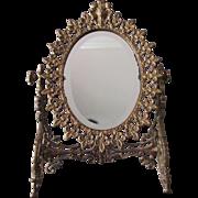 Antique Victorian French Fleur de Lis Vanity, Dressing Mirror
