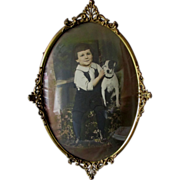 c1910s Bubble Glass Picture Frame with a Boy and his Dog