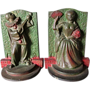 Nice Pair of Circa 1920-30s Art Deco Pierrot & Lady Bookends