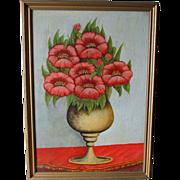 Wonderful Folk Art Oil Painting of Poppy Flowers in Urn
