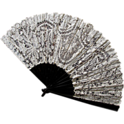 Lovely Vintage Brazilian Needle Lace Ladies Fan