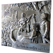 Lovely Victorian Sculpture, Plaque of Lady & Men on Balcony