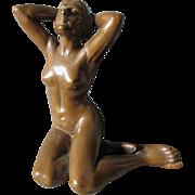 Lovely c1920s Art Deco, Nouveau Seductive Nude Sculpture, Armor Bronze