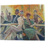 SALE PENDING c1950 Impressionistic Oil Painting of a Night Club, Listed Artist