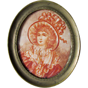 Antique French Miniature Painting Of Lovely Young Woman