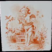 Lovely Hand Painted Cherub Angel & Bird Minton Tile