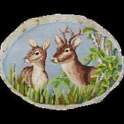 Vintage c1940s Wool Needlepoint of Deer, a Buck and Doe
