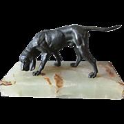 SOLD c1920-30s Vienna Bronze Dog Sculpture with Alabaster Base