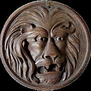 Antique Hand Carved Oak Lion Plaque, Architectural Element