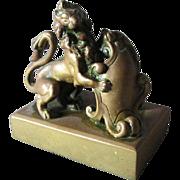 Antique Bronze Lion with Shield Paperweight, Miniature Sculpture