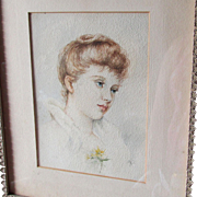Fine Antique Victorian Watercolor Painting of a Lovely Lady