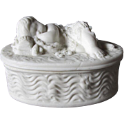 c1880s Victorian Parian Porcelain Sleeping Baby Box