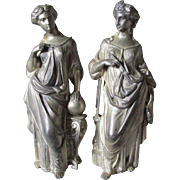Pair 19thC Victorian Sculptures of Lovely Ladies